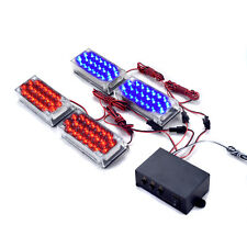 4 X 22 LED Car Strobe Flash Light Emergency Warning Lamp 3 Flashing Red & Blue