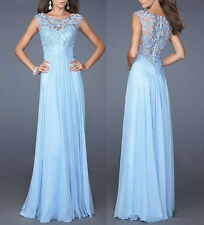 Womens Summer Party Ball Gown Blue Long Lace Chiffon Night Dress Sleeveless US M