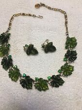 Vintage Lisner Demi Green Leaf Leaves Thermoset Rhinestone Necklace & Earrings