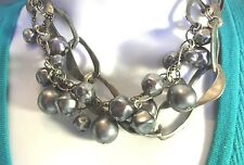 "Brand name necklace 14 "" long choker gunmetal silver / grey beads & chain links"