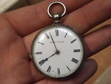 GOOD ATTRACTIVE ANTIQUE HENRY TOUCHON SOLID SILVER POCKET WATCH - WORKING