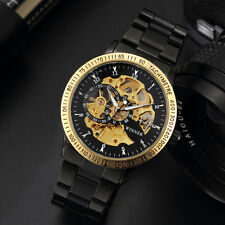 New Winner Mechanical Golden/Black Hollow Skeleton Men's Steel Band Wrist Watch