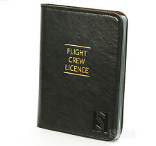 Flight Crew License's Leather Case ID Holder Black for Pilot  High Quality