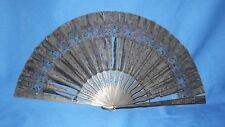 Antique Victorian Hand Carved Wood & Black Chantilly Lace Mourning Fan
