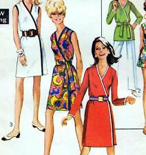 "EASY Vintage 60s Mod WRAP DRESS Sewing Pattern Bust 34"" 36"" Size 10 & 12 Retro"