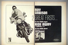 "Roy Orbison 2-Page PRINT AD - 1965 ~~ ""Ride Away"", motorcycle"