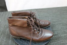 Brown Women's Granny Boots size 6.5m Calico lace ups 80's leather