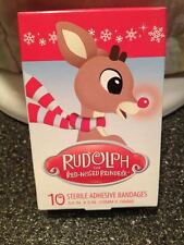 10 Sterile Band Aid Bandages Rudolph The Red Nosed Reindeer Brand New Box