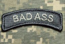 BAD ASS TAB US ARMY USA MILITARY ISAF OAF ACU LIGHT HOOK & LOOP MORALE PATCH