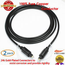2-Pack Gold 6 Feet Digital Optical Fiber Audio Toslink Cable, 100% Pure Copper