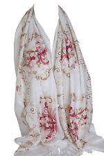 Brodé blanc pashmina sentir wrap écharpe écharpes étole châle hijab
