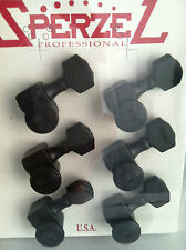 Sperzel Black 6 in Line Guitar Tuning Keys Pegs Authentic Trim Lok!