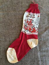 Vintage 1930's Sock Christmas Stocking Reindeer Pulling Santa in Sled with Toys