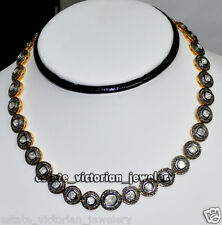 Vintage Retro 9.62cts Rose Antique Cut Diamond Silver String Necklace Jewelry