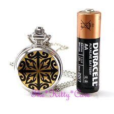 Miniature Silver Ethnic Tattoo Pocket Half Hunter Steampunk Necklace Fob Watch