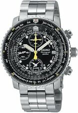 Seiko Watch Pilot Chronograph Ref.Sna411P1 Black New /C1