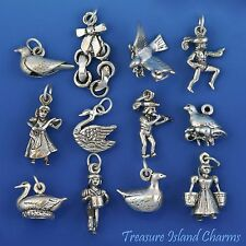 12 DAYS OF CHRISTMAS COMPLETE HEAVY SET 3D .925 Solid Sterling Silver Charms
