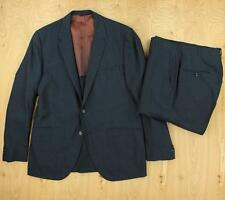 vtg 60's PALM BEACH blue sharkskin suit 41 - 42 short 34 x 28 pants mod mad men