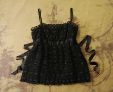 ANTHROPOLOGIE ANNA SUI BLACK LACE RUFFLE RIBBON TIE BLOUSE SHIRT TANK TOP 4 S