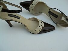 """Ann Klein Women's Shoes Size 9 Beige and Brown Ankle Strap 3.5"""" High Heel"""