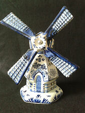 Vintage Delft Blue and White Ceramic Windmill Lamp, Not Tested