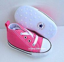 Converse All Star Black White Pink Baby Crib Infant Shoes Girl Sizes 3 - 4
