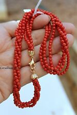 Natural red coral necklace 3 threads 4mm, gold clasp 18 cts. 160 cts