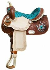 "13"" Double T Youth/ Pony Saddle with Hair On Zebra Print Seat and Horse Shoe"
