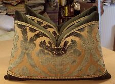 "SCALAMANDRE MOSS GREEN ""DAMASK VELVET"" SILK VELVET FABRIC CUSTOM BOLSTER PILLOWS"