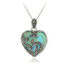 "925 Sterling Silver Marcasite and Turquoise Heart Necklace, 20"" - USA Seller!"