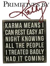 """Primatives By Kathy Wooden Rustic Box Sign - Karma Means 5"""" x 5"""" Gifts Decor"""