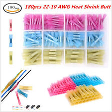 180pcs Car 22-10 AWG Heat Shrink Butt Electrical Wire Crimp Terminal Connectors