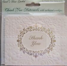 Carol Wilson Thank You Cards 10 Embossed Set Blank Wedding Marriage Newlyweds