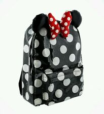 DISNEY PARKS BLACK POLKA DOT SEQUIN MINNIE MOUSE BOW BOOKBAG BACKPACK