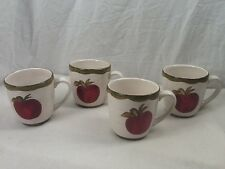 NorthCrest Home Coffee Mug Latte Cup Apple Teacher Hand Painted White Red Set 4