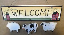 6x10 Country Kitchen WELCOME COW PIG SHEEP Primitive Folk Art Saltbox Decor Sign