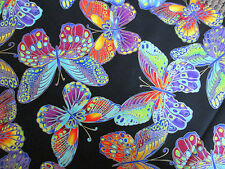 Butterfly Glitter Yellow Black Butterflies Cotton Fabric FQ