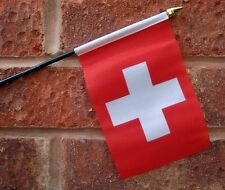 "SWITZERLAND HAND WAVING FLAG small 6"" x 4"" with 10"" pole SWISS Bern Zurich"