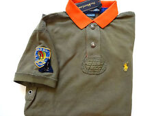 New Ralph Lauren Polo Custom Fit 100% Cotton Olive Indian Patch Summer Shirt M