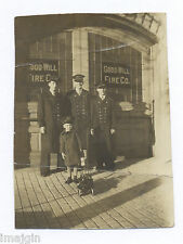 1920's MINIATURE PHOTO OF KID W/ BUDDY L TOY FIRE ENGINE IN FRONT OF FIRE CO.