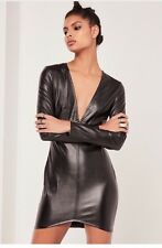 BNWT Missguided Faux Leather Long Sleeved Plunge Dress 10