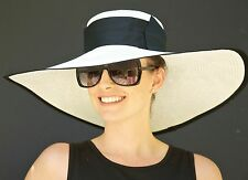 Wide Brim Kentucky Derby hat, Church Hat, Wedding hat, Formal Black & White Hat
