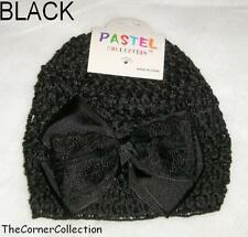 CROCHETED BABY HAT BEANIE with RIBBON & LACE BOW - CHOOSE COLOR