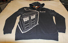Doctor Who Mens Grey Tardis Printed Zip Up Hoodie Jumper Top Size L New