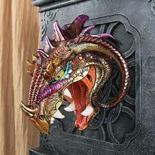 Menacing Monstrous Wall Mounted Iridescent Dragon Head Wall Sculpture Trophy NEW
