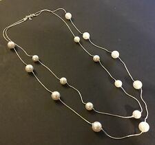 """Silver & sim white pearl double chain necklace 30"""" - 36"""" Plum UK GIFT BOXED"""