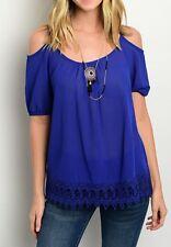 Black or Blue Off / Open Shoulder Cami Crochet Trim Hem Short Sleeve Blouse Top