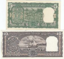 (OLD 5/- 4 DEERS & 10/- BLACK BOAT ON REVERSE) OLD BANK NOTE IN UNC
