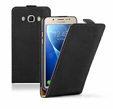 SLIM BLACK Leather  For Samsung Galaxy J5 2016 (+2 FILMS) Flip Case Cover Pouch