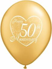 "10 pc - 11"" Happy 50th Anniversary Latex Balloon Party Decoration Wedding Gold"